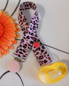 Pacifier Clip Pink Cheetah Print by Cool2BeChic on Etsy, $3.50