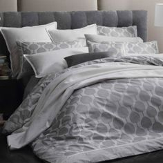 Kabuki Silver Quilt Cover Set by Florence Broadhurst