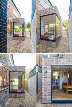 An L-shaped extension has been added to a London home, and makes space for a corner window seat and a tall bookshelf. Corner Window Seats, Window Benches, Tall Bookshelves, Glass Extension, Built In Bed, Colourful Cushions, Side Garden, House Extensions, Brick Wall