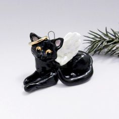 Your place to buy and sell all things handmade Cat Christmas Ornaments, Christmas Cats, Hand Sculpture, Black Christmas, Porcelain Clay, Animal Rescue, Dog Cat, Grieving Quotes, Angel