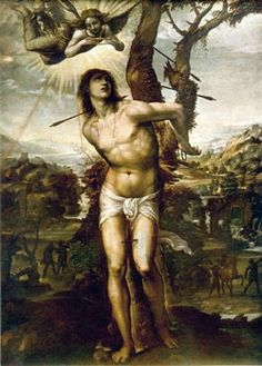 St.Sebastian  He is patron saint of athletes because of his physical endurance and his energetic way of spreading and defending the Faith. Sebastian is also patron to all soldiers.