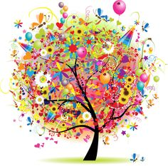 Illustration of Happy holiday, funny tree with baloons vector art, clipart and stock vectors. Balloon Tree, Christmas Tree Clipart, Diamond Drawing, Photoshop Projects, Visualisation, Colorful Trees, Colorful Party, Clip Art, Motif Floral
