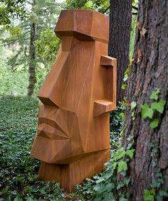 Chainsaw Wood Carving, Wood Carving Faces, Wood Carving Designs, Tree Carving, Yard Sculptures, Sculpture Head, Driftwood Sculpture, Tiki Statues, Wooden Statues
