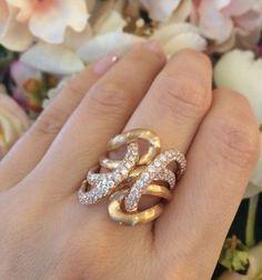 3.50 ct. Swirl Cocktail Diamond Ring in Satin Finish 18k Rose Gold ($5,850.00)