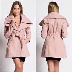 1 HR SALEPARIS wide collar fall coat - PINK Long sleeve, wide collar coat with waist belt in solid felt fabric. Wear this dramatic winter coat over a bodycon midi dress and mid-calf high heel boots for a sultry, cozy look or with skinny or leggings. Perfect for showing off your curves, even on the coldest days. NO TRADE, PRICE FIRM Bellanblue Jackets & Coats
