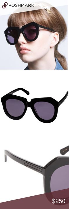 🆕 Karen Walker One Worship Sunglasses Brand new Karen Walker handmade black plastic angular-frame One Worship sunglasses.  Arrow inlays at temples Color is Black Grey lenses  May be fitted with prescription lenses.                      Glass case, lens cloth & pouch included Style # 503390608 Karen Walker Accessories Sunglasses