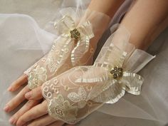 Lace Bridal Gloves With Chiffon Bow and by HenrietteRenee on Etsy, $35.99