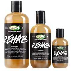 """Rehab is about bringing your hair and scalp back to life and repairing it with an array of nutritious ingredients. A blend of fresh citrus juices clarify hair and scalp with active enzymes, while herbs work their magic on tired scalps. It doesn't take long for this shampoo to restore your hair's vitality!"" $13.95 - $39.95"