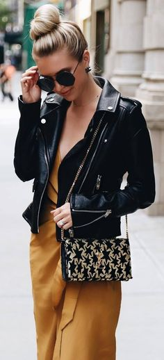 How To Style A Moto Jacket Bag And Silk Dress