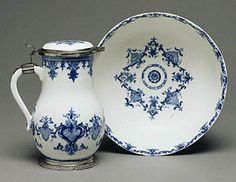 Lidded Ewer and Basin, Saint-Cloud Porcelain Manufactory, early 1700s