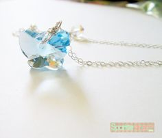 Aquamarine Swarovski crystal necklace Blue necklace by SparkleSand, $22.00