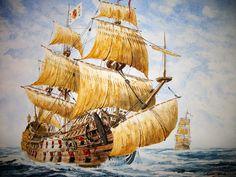 Galeones españoles durante el siglo XVII, cortesía de Rafael Castex. Más en www.elgrancapitan.org/foro
