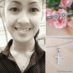 """Thank you so much for this photo Jennifer! 🙏💕✨ """"Here is my photo wearing your beautiful cross pendant. Thank you so much. They are both beautiful and I wear them everyday to work."""" ✨My client is wearing the small cross pendant and the 2 carat earrings. They are perfect everyday pieces! ✨Available for purchase now at www.TigerGems.com."""