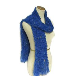 Electric Blue Hand Knit Scarf by ArlenesBoutique on Etsy, $40.00