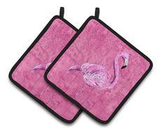Flamingo on Pink Pair of Pot Holders 8875PTHD