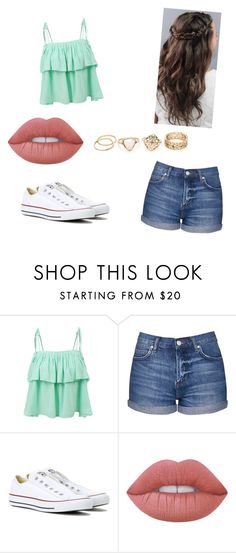 """Untitled #27"" by izzy31704 on Polyvore featuring LE3NO, Topshop, Converse and Lime Crime"