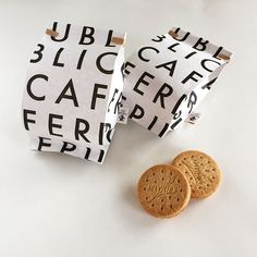 love the big bold lettering the bag (coffee bag) for packaging sandwiches and smaller items like cookies, scones etc.