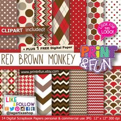 Digital Paper Patterns Backgrounds Chevron houndstooth Argyle honey comb polka dots Knitting red brown beige clip art geometric