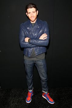 Bryan Greenberg:  The navy leather moto jacket