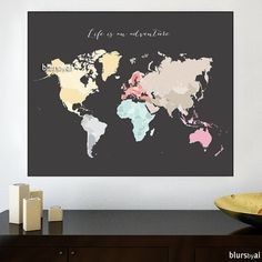 30x24 Printable world map diy travel pinboard map by blursbyaiShop