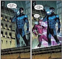 Dick Grayson and Impulse Nightwing, Batgirl, Tim Drake, Marvel Dc, Marvel Comics, Richard Grayson, Batman Family, Superhero Family, Superhero Memes