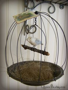 Handmade Wire Bird Cage with Hand Sculpted Bird