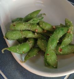 Garlic Chili Edamame - kicks the bread & oil carb cravings! #keto