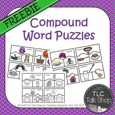 Three piece puzzles for twelve different compound words. Four different 3-piece configurations were used when creating the puzzles.