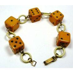 Yellow Bakelite Dice Bracelet