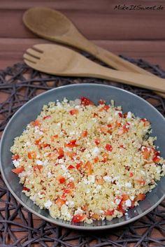 Ein Rezept für einen Couscous Salat mit Paprika und Feta. Perfekt als Beilage zum Grillen. Der Salat ist vegetarisch.