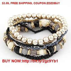 2016 Bohemian Summer Jewelry MutiLayer Beads Bracelets & Bangles for Women Elastic Strand