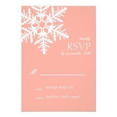 Jumbo Snowflake RSVP Cards (Peach) Invitations