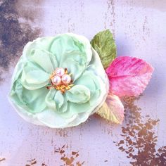 Items similar to Vintage mint, peach or blush blossom hair clip with velvet leaves. Also comes in peach or mint. on Etsy Flower Hair Clips, Flowers In Hair, Bridesmaid Hair Accessories, Peach Blossoms, Succulents, Blush, Mint, Velvet, Romantic