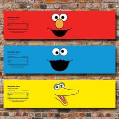 3 water label designs included: Elmo, Cookie Monster and Big Bird. You can print at home or upload to the photo lab of your choice! This listing is for a digital file ONLY. NO printed items will be sent Please send me a message if you have any other question or concerns. Once payment is Sesame Street Signs, Sesame Street Party, Sesame Street Birthday, Elmo Party, Baby Party, Elmo Birthday, Birthday Ideas, Lucas 2, Event Themes