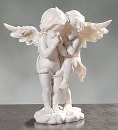Statuette couple d anges serrés sur nuage- Cris Figueired♥
