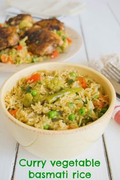 Fluffy basmati rice, add curry powder and vegetables and you have an easy and very flavorful side dish, curry vegetable basmati rice.