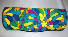 Vintage 60 70's Fabric Sunglass case holder Neon Glow Fabric + snap front