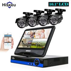 Hiseeu 4CH 720P CCTV System kit 10inch LCD Display Bullet Outdoor waterproof video Surveillance AHD Security Camera System set Review Wireless Security Cameras, Security Camera System, Home Security Tips, Waterproof Camera, Types Of Cameras, Surveillance System, Bullet, Display, Kit