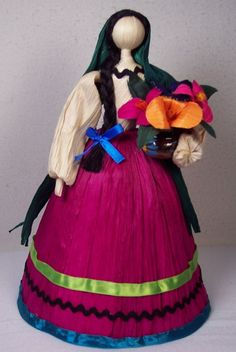 Corn Husk Doll with flowers as seen in Something and More website