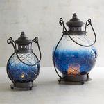 Blue Ombre Medallion Glass Lanterns