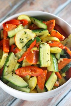 Recipe for a quick and easy side dish of Sauteed Vegetables with herbs and garlic. Nutritional information and Weight Watcher's points included.