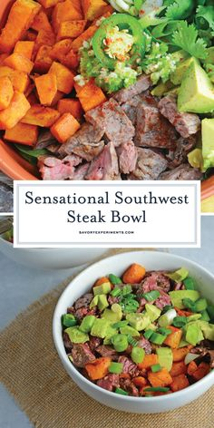 Southwest Steak Bowl - A Delicious Steak Meal Prep Recipe Fancy Dinner Recipes, Healthy Dinner Recipes, Drink Recipes, Beef Dishes, Tasty Dishes, Best Beef Recipes, Free Recipes, Favorite Recipes, Easy Weeknight Dinners