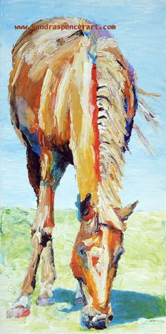 Original Palette Knife Horse Painting 8x16. $80.00, via Etsy.