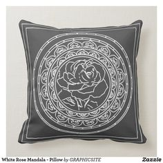 Shop White Rose Mandala - Pillow created by GRAPHICSITE. Mandala Rose, Geometric Mandala, Geometric Pillow, Wedding Announcements, White Shop, Custom Pillows, White Roses, Throw Pillows, Make It Yourself