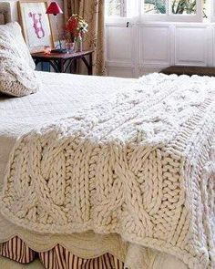Chunky Crochet Blankets Free Knitting Pattern for Giant Cabled Throw - Maria McClean's blanket in super bulky yarn is an 8 row repeat with two cable rows. - Visit the post for more. Cable Knit Blankets, Cable Knit Throw, Knitted Blankets, Merino Wool Blanket, Cozy Blankets, Cozy Knit, Knitting Projects, Knitting Patterns, Free Knitting