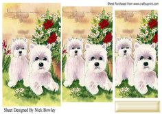 westies in a flower garden pyramids on Craftsuprint - Add To Basket!