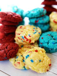 Are you running behind and need to take something to a Fourth of July party? I think this is why cake mix cookies were invented. With just a box of cake mix and a few pantry items you can easily and quickly make a festive dessert. I hope you enjoy these red white and blue cake mix cookies as much we do! We love snickerdoodle cake mix cookies and chocolate...