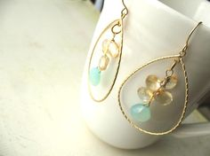 Beach Wedding Earrings Aqua Chalcedony and by BlueDoveStudio, $42.50