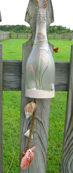 Wine Bottle Wind Chime - Frosted Glass with Hand-Painted Beach Theme and Real Sand and Shells