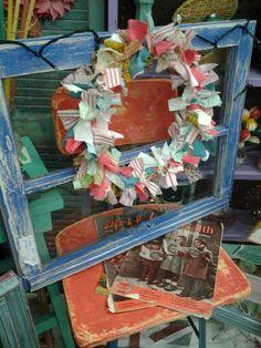 Vintage painted window  handmade rag wreth,  funky junk by tina